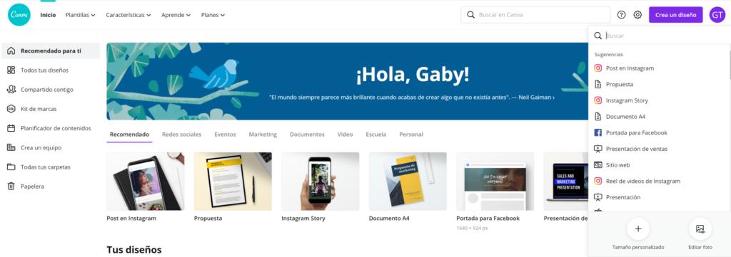 Visual de la pantalla de inicio de la herramienta de diseño Canva