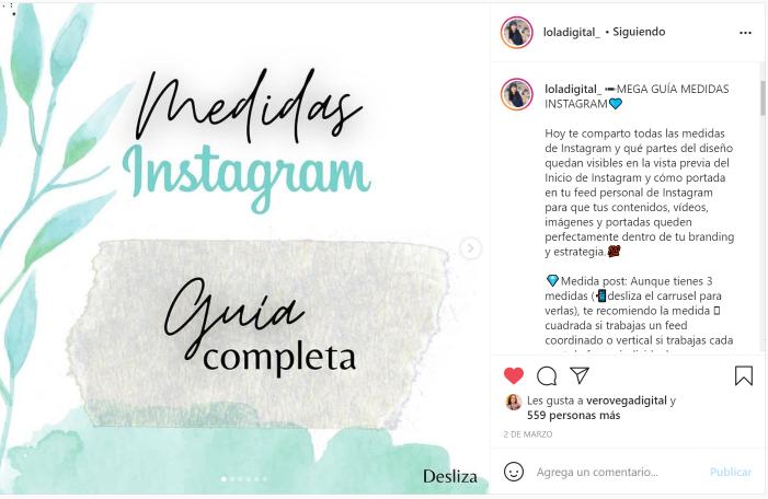 Ejemplo de post carrusel de Instagram diseñado en Canva