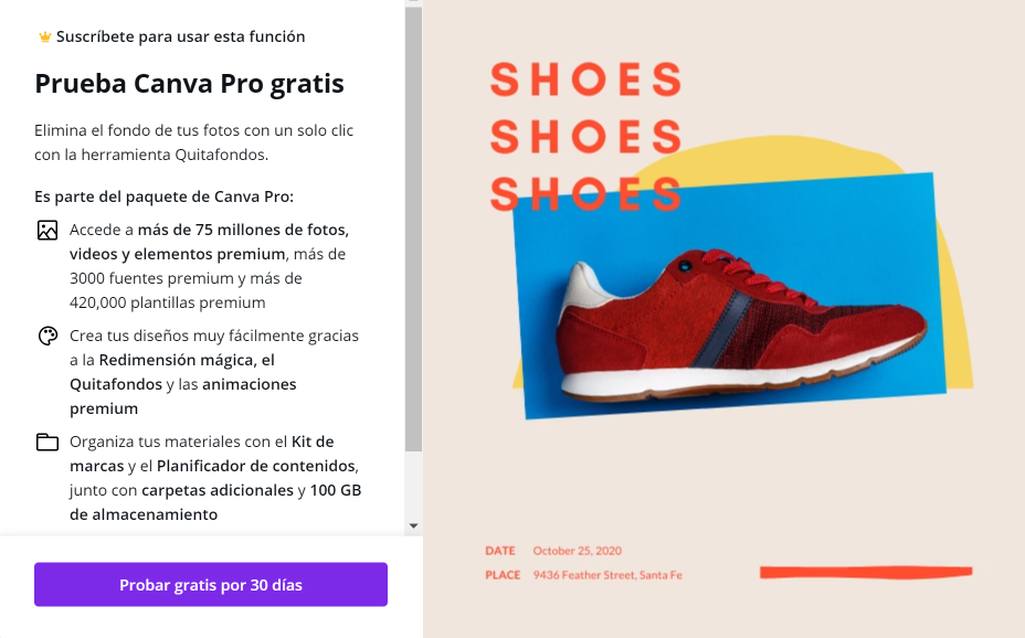 Pop up Canva pro