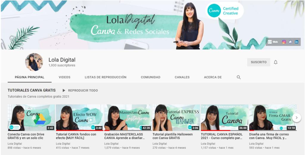 Canal de YouTube de LolaDigital - Vista ordenador