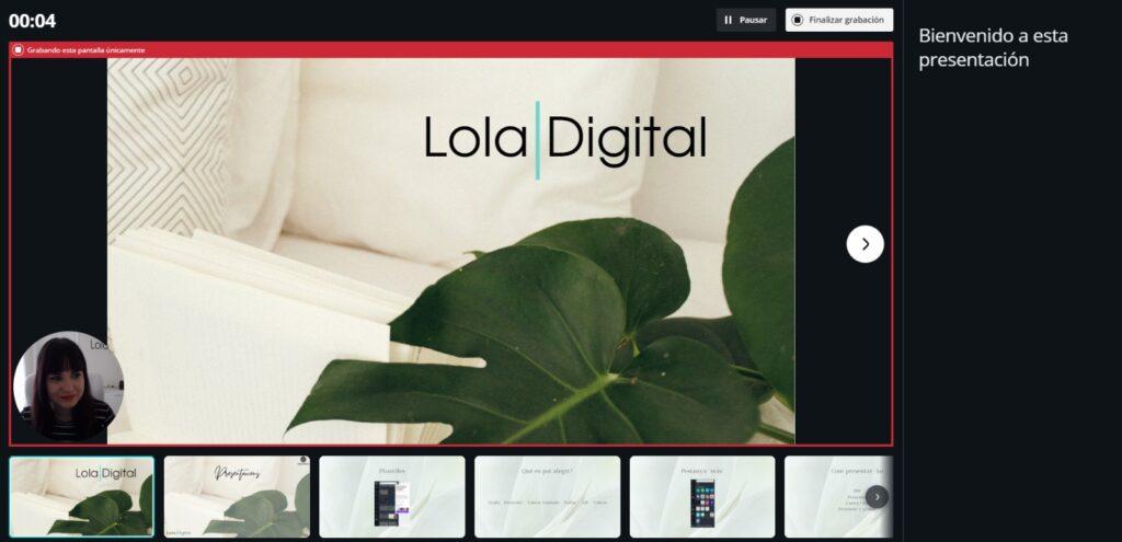 Vista presentación en Canva. Puedes mirar tus notas, las diapositivas que siguen y pausar la grabación.