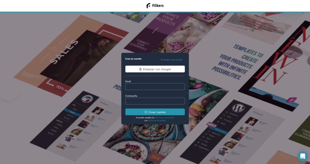 Registro de Filkers, app para visual marketing de ecommerce