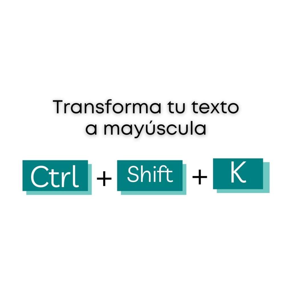 Atajos de Canva - Transformar texto a mayúscula