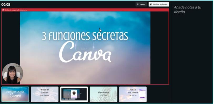 Vista de grabación de la función presentar y grabar de Canva
